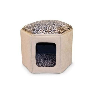 K & H Manufacturing Kitty Clubhouse unheated, Tan and Leopard, 1 ea