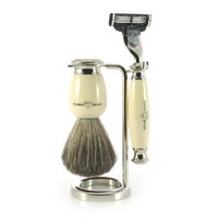 Edwin Jagger Simulated Ivory and Nickel Shaving Set