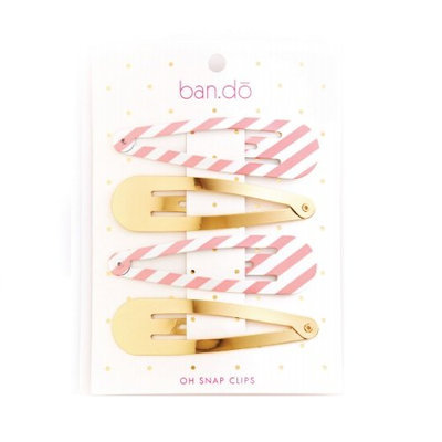 Ban.do Oh Snap Triangle Clip Set Ticket Stipe and Gold