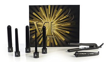 Bebella 6p Premium Pro Gift Set with 5 Pc Interchangeable Barrels 5 in 1 Hair Curling Iron System and Premium Pro Professional 1.25