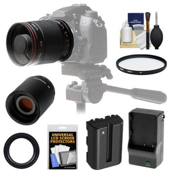 Vivitar 500mm f/8.0 Mirror Lens with 2x Teleconverter (=1000mm) + NP-FM500H Battery & Charger + Filter + Accessory Kit for SLT-A57, A58, A65, A77, A99 DSLR Cameras