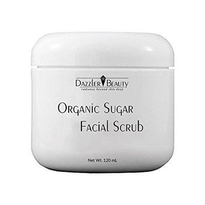 Dazzler Beauty Organic Sugar Facial Scrub - Exfoliates & Smooths Skin - Ideal Cleaning Solution for Dry or Dull Skin - For All Skin Types - 4.0 oz/120 ml