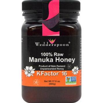 Wedderspoon 100% Raw Premium Manuka Honey KFactor 16-17.6 oz Jar