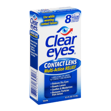 Clear Eyes Lubricating Eye Drops Contact Lens Multi-Action Relief
