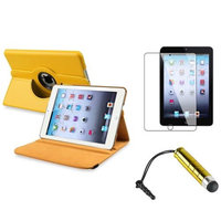 Insten iPad Mini 3/2/1 Case, by INSTEN Yellow Rotating Leather Case Stand+Protector/Pen for Apple iPad Mini 3rd 3 2nd 1 1st Gen