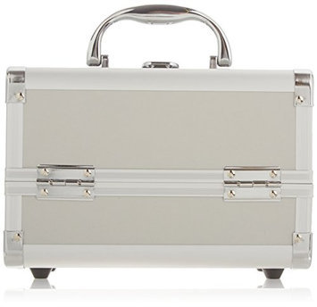 JustCase Cosmetic Makeup Train Case with Mirror and Easy Clean Extendable Trays