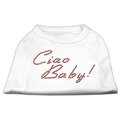 Mirage Pet Products 5220 XXXLWT Ciao Baby Rhinestone Shirts White XXXL 20