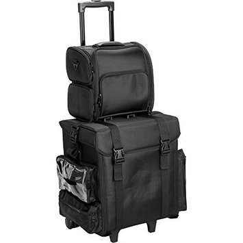 JustCase T5371 2-In-1 Soft Sided Professional Rolling Trolley Makeup Artist Cosmetic Travel Case