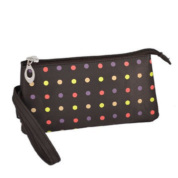 Uxcell Polka Dot 3 Compartment Wristlet Cosmetic Bag or Pouch