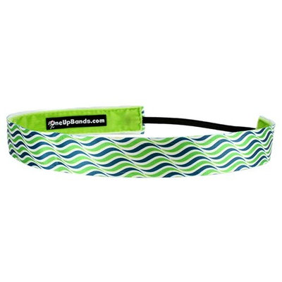 One Up Bands Waves Navy Lime Non-Slip Headband