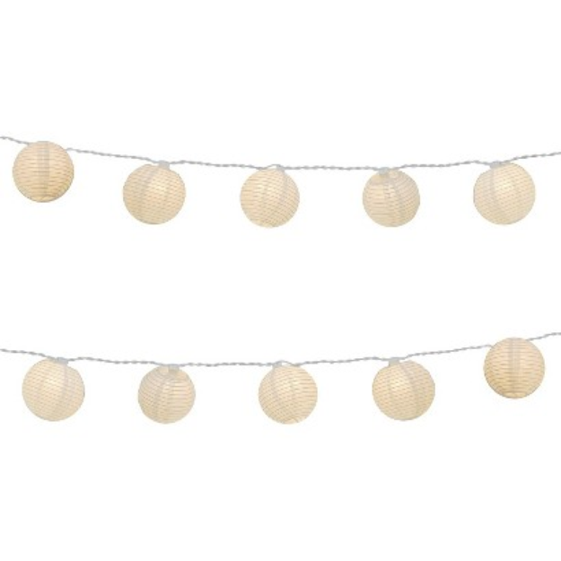 Lumabase Electric String Light with Round Paper Lanterns - White (3