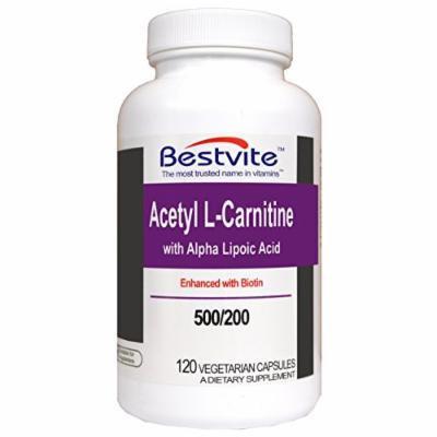 Acetyl L-Carnitine 500mg & Alpha Lipoic Acid 200mg (120 Vegetarian Capsules)