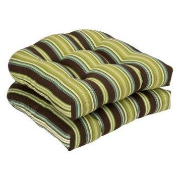 Pillow Perfect Outdoor 2-Piece Chair Cushion Set - Brown/Green Stripe