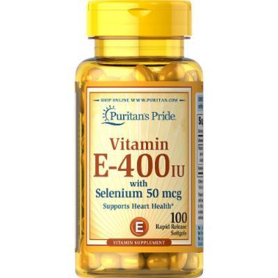 Puritan's Pride Vitamin E-400 IU with Selenium 50 mcg-100 Softgels