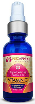 PlexAppeal Skincare Triple Defense Anti Aging Vitamin C Serum with Hyaluronic Acid and Tri-Peptide