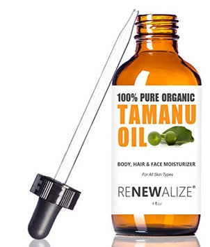 Organic TAMANU OIL - Cold Pressed and Unrefined in LARGE 4 OZ. DARK GLASS BOTTLE with Glass Eye Dropper | Best for Acne Skin Types | Highest Quality 100% Pure Organic | Non-GMO