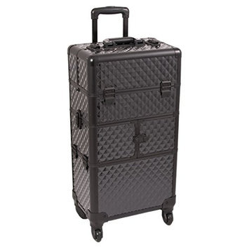 Sunrise 2-in-1 Aluminum 4 Wheels Rolling Hair Stylist Makeup Artist Case with 12 Extendable Trays and 6 Sliding Trays