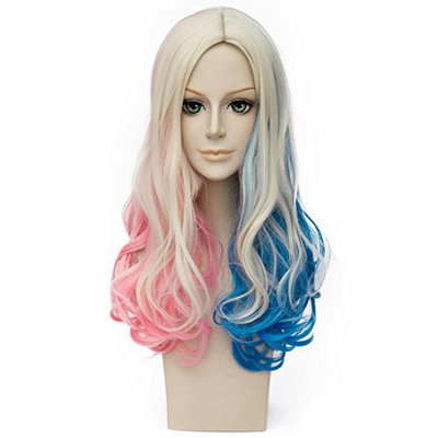 Movie Pink Blue with Blonde Wavy Curly Cosplay Wigs for Suicide Squad Harley Quinn Wig