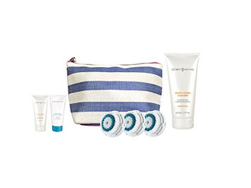 Clarisonic 3PK Deep Pore Replacement Brush Head with Free Travel Bag and Cleansers
