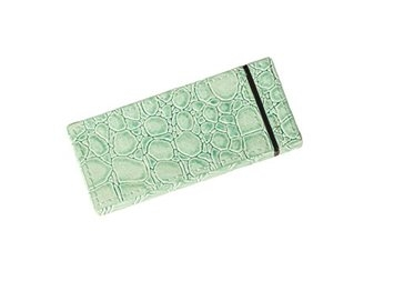BEAUTY9 FBG017 MINT GREEN Two Sided Sliding Mirror with 5x Magnified Faux Croc Leather