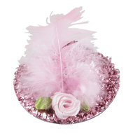 Uxcell Faux Feather Decor Glittery Ladies Mini Top Hat Hair Clip