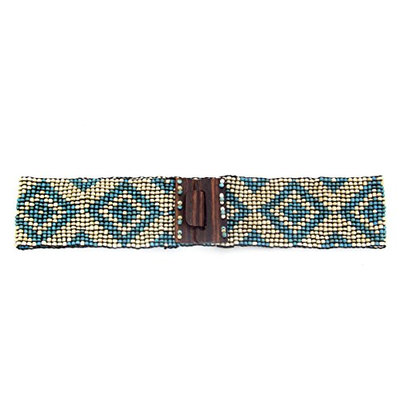 Geometric Stretch Beaded Belt - Natural/Turquoise