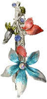 Caravan Imagine The Blue Rose And The Pink Leaves This Colorful Barrette Got Matching Rhinestones