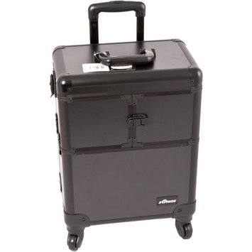 Series Black Interchangeable E 360 Rotation Aluminum 3 Extendable Tier Train Case Cosmetic Storage Organizer Professional Makeup Artist Wheeled Luggage