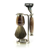 Edwin Jagger Simulated Horn and Nickel Shaving Set