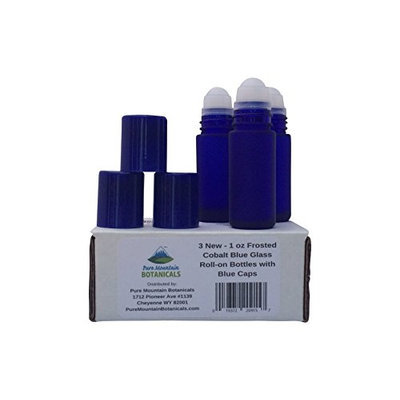 Pure Mountain Botanicals 3 Roll On Glass Bottles in Frosted Cobalt Blue Color with Blue Caps