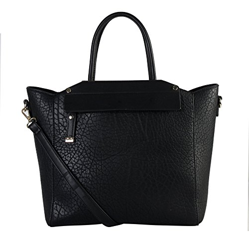 Diophy Womens Faux Leather Top Handles Handbag OS-2983 Black