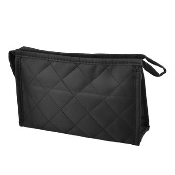 Uxcell Grid Pattern Nylon Ladies Zipper Cosmetic Bag and Holder