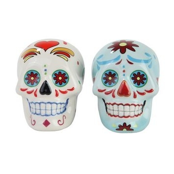 Day of Dead Sugar White & Blue Skulls Salt & Pepper Shakers Set