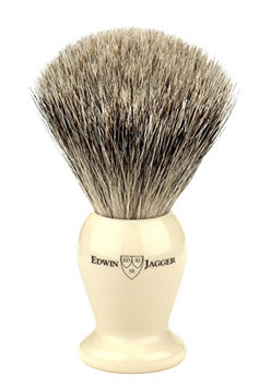 Edwin Jagger 1ej257sds Traditional English Super Badger Hair Shaving Brush Faux Ivory Medium With Drip Stand