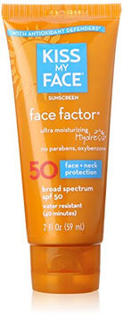 Kiss My Face Face Factor Natural Sunscreen SPF 50 Sunblock for Face and Neck