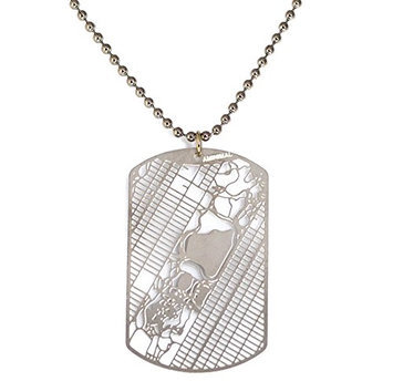 New York Central Park Dog Tag - Urban Gridded Jewelry Collection by Aminimal