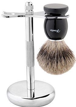 Fento Badger Hair Shaving Brush and Chrome Razor Stand Shaving Set Black