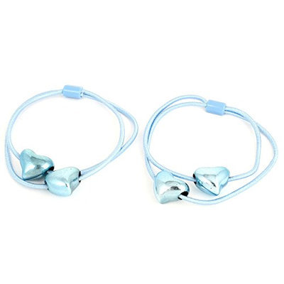 Uxcell 2 Piece Heart Shape Pendant Elastic Ponytail Holders Hair Band