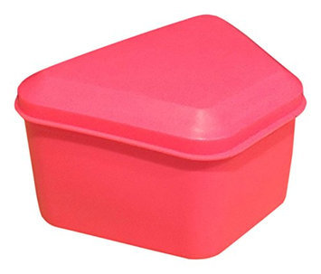 Pureline Oralcare Denture Container Capable of Soaking a Complete Upper and Lower Denture HOT PINK