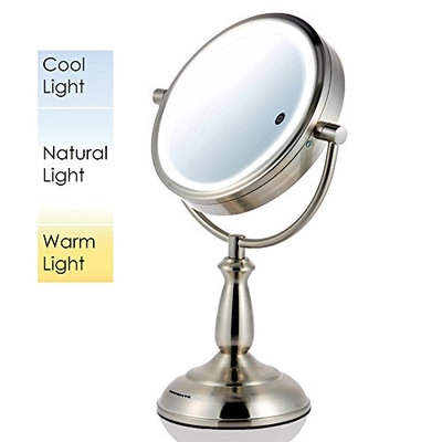 Ovente MPT85BR Multi Touch Tabletop Makeup Mirror with 3 Tone LED Light Option
