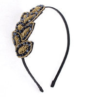 Uxcell Lady Plastic Beads Detail Leaf Shape Decoration Hair Hoop