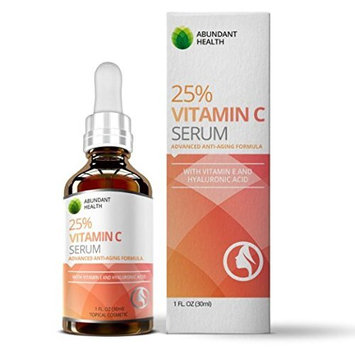 Abundant Health 25% Vitamin C Serum with Vitamin E and Hyaluronic Acid for Youthful Looking Skin