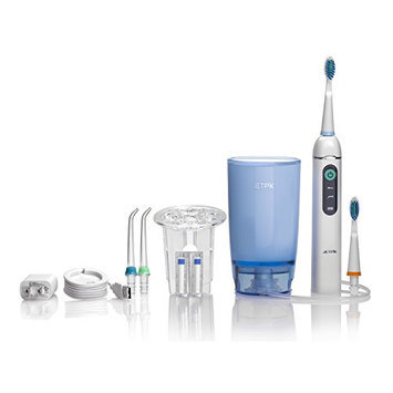 Jetpik JP200 Home-Rechargeable Electric Dental Flosser Oral Irrigator with Pulsating Floss-Water Jet Pik Power and Sonic Toothbrush