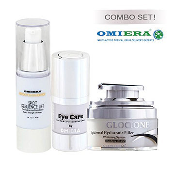 Anti-Wrinkle Cream Glocione (1.0 fl oz) + Dark Circle Eye Cream llumizone (0.5 fl oz) + Dark Spots Corrector Glocione (1.0 fl oz) Anti Aging Products By Omiera Labs