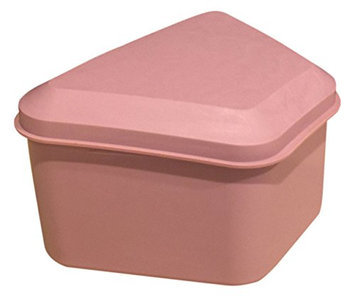 Pureline Oralcare Denture Container Capable of Soaking a Complete Upper and Lower Denture DUSTY ROSE