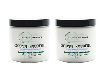Neuclipse Frizzy Hair Shoppe (New Era for Curls) Naturals Coconut Smoothie Salon Leave-in Conditioner Curly Girl Specialty 2c-3b/c Curl Types with Organic Coconut Oil and Butter