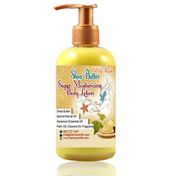 100% Pure Unrefined African Shea Butter Moisturizing Lotion with Vitamin E & Essential Oils (Wild Peach