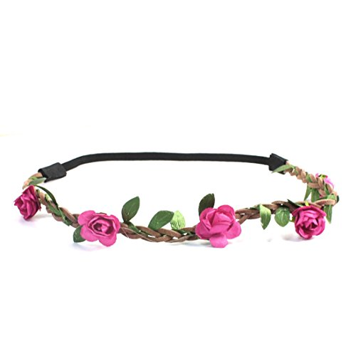 Uxcell Flower Detail Elastic Fiber Women Braided Hair Head Band