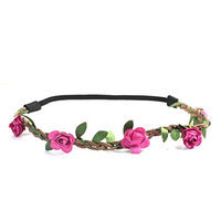 Uxcell Flower Detail Elastic Fiber Women Braided Hair Head Band