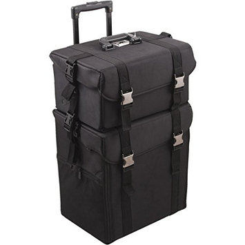 Hiker 2-in-1 Black Soft Sided Rolling Makeup Case with Drawers